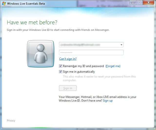 firefox automatic sign from windows live messenger hotmail